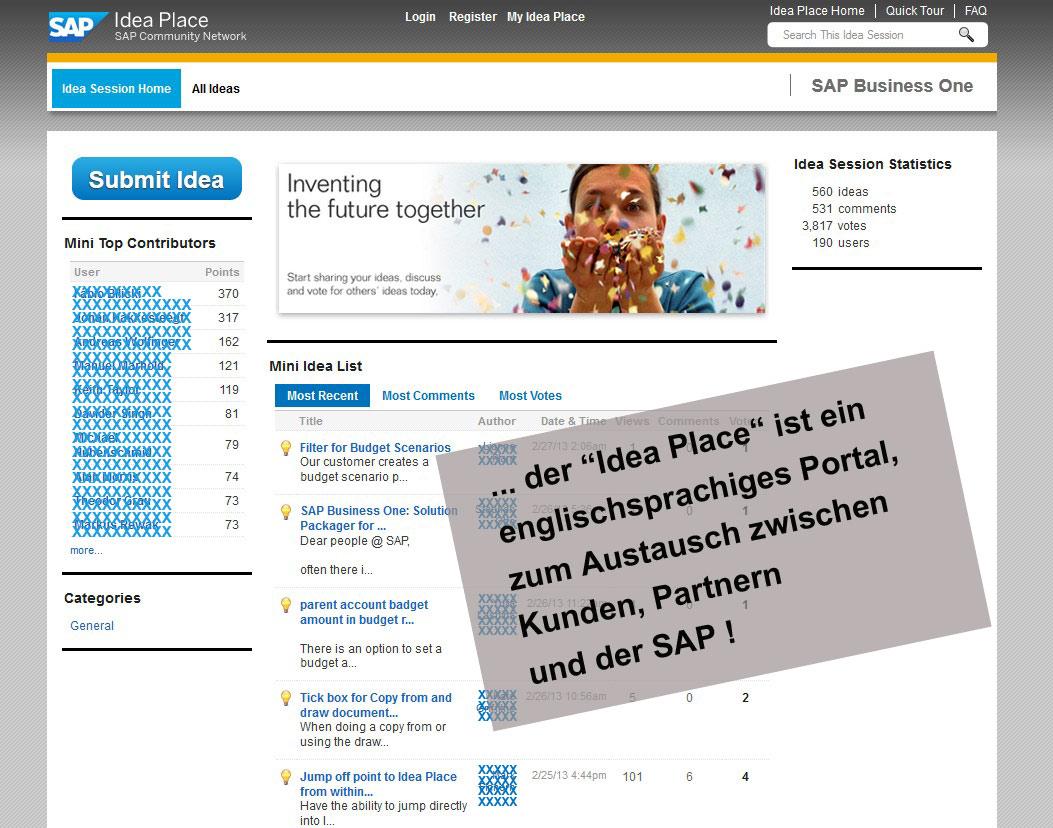 Ideenschmiede der SAP für Business One