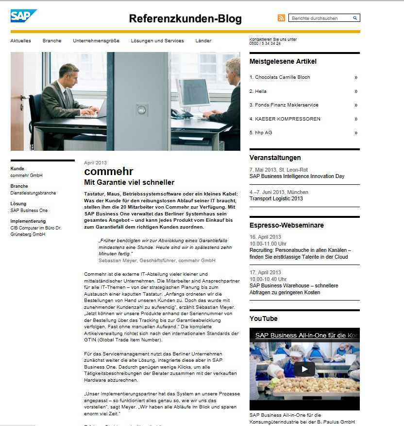 Die Erfolgsgeschichte von SAP Business One geht ungehindert weiter.