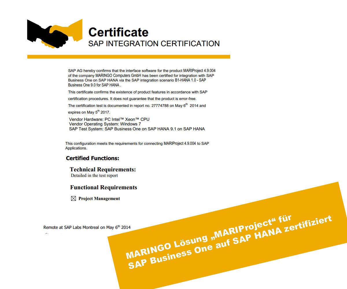 MARIProject jetzt SAP zertifiziert