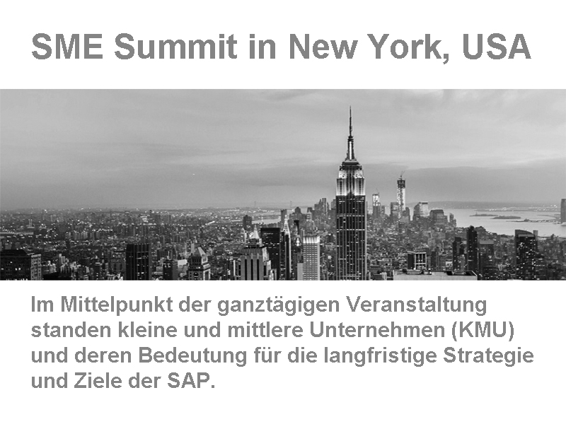 SAP SME Summit in New York