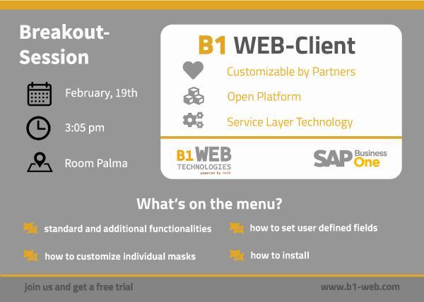 Breakout-Session B1 Web-Client für SAP Business One