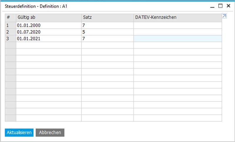 Mehrwertsteuer-Senkung in SAP Aktualisieren